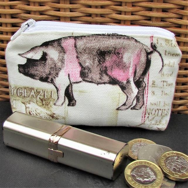 Small purse, coin purse - pale cream with pink and black pig