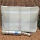 Cream and beige tartan tweed toiletry bag