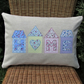 HOME applique rectangular cushion with pastel floral houses