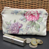 Large purse, coin purse - Cream with pink and purple Roses