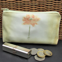 Large purse, coin purse - Pale yellow with orange flower