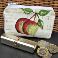 Small purse, coin purse - pale cream with two red and green apples