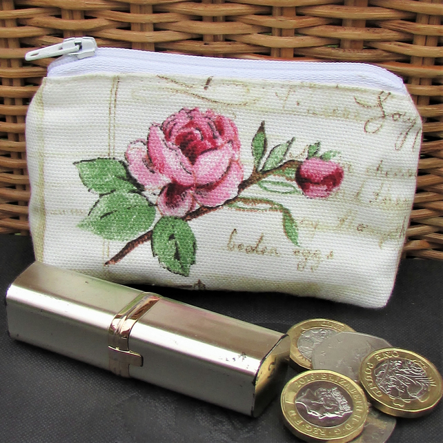 Small purse, coin purse in pale cream with pink Rose and rosebud