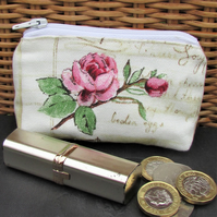 Small purse, coin purse - pale cream with pink Rose and rosebud