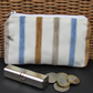 Large purse, coin purse - pale cream with textured stripes in blue and beige