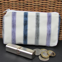 Large purse, coin purse - pale cream with textured stripes in lilac and blue