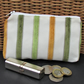 Large purse, coin purse - pale cream with textured stripes in green and yellow