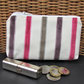 Large purse, coin purse - pale cream with textured stripes in plum and magenta