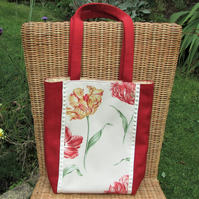 Red tote bag with floral panel featuring Parrot Tulips
