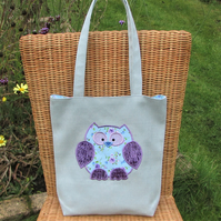 Owl tote bag - Pale blue with blue and purple floral owl