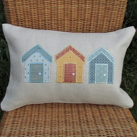 Beach huts cushion - Rectangular, cream with blue, golden-yellow and salmon huts