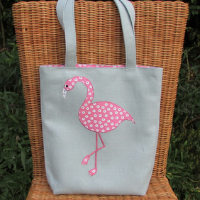 Flamingo tote bag - pale blue with pink and white floral print flamingo