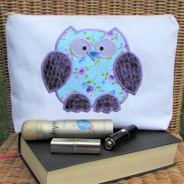 Owl toiletry bag - Ivory with blue and purple floral applique owl