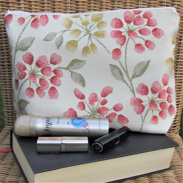 Cream toiletry bag, wash bag with yellow and red and floral pattern