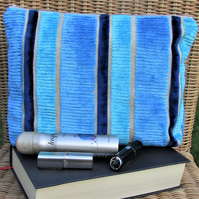 Striped velvet-finish toiletry bag in turquoise, blue and beige