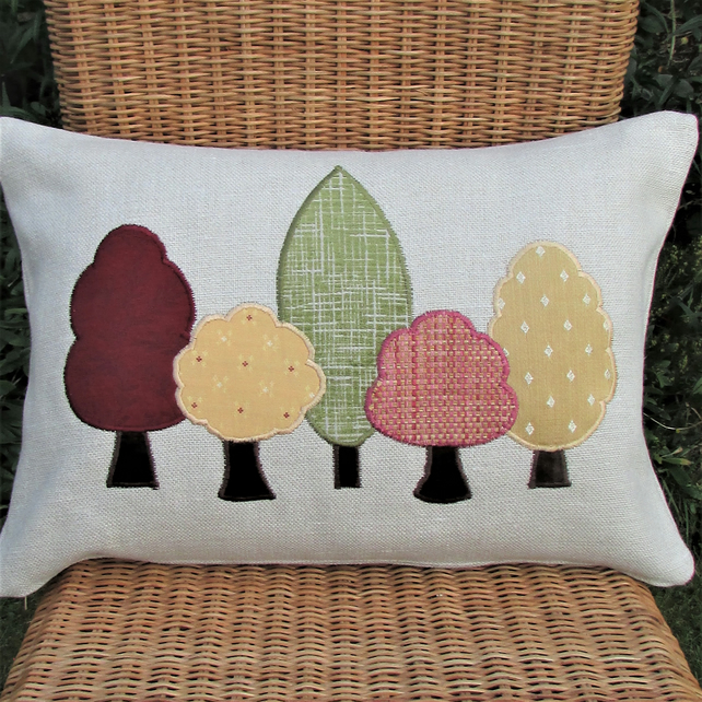 Autumn trees rectangular cushion