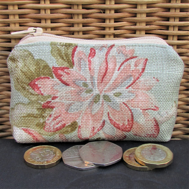 Small purse, coin purse - pale green with pink floral print