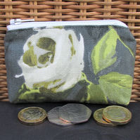 Small purse, coin purse - dark grey with large white Rose