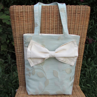 Duck egg blue leaf pattern tote bag, handbag with large decorative bow