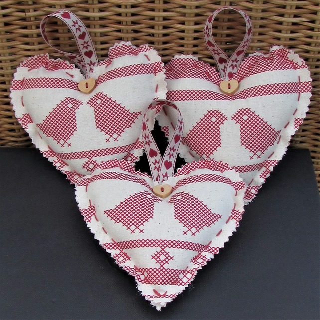 Scandi Christmas decoration, hanging heart in cream with red birds