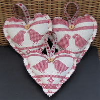 Scandi Christmas decoration, hanging heart - cream with red birds