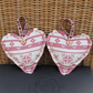 Scandi Christmas decoration, hanging heart - cream with red snowflake
