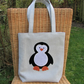 Penguin tote bag - Pale grey with black and white polka dot penguin