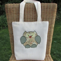 Owl tote bag in cream with beige, peach and sage green patchwork print owl