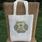 Owl tote bag - Cream with beige, peach and sage green patchwork print owl