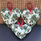 Christmas decoration - Cream and green holly print hanging heart
