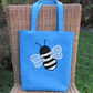 Bumble Bee tote bag - Turquoise with applique Bumble bee