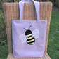 Bumble Bee tote bag - Lilac with applique Bumble bee