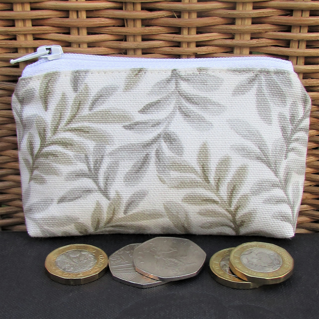 Small purse, coin purse - cream with beige and grey leaf pattern