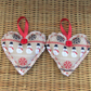 Snowman Christmas decoration, hanging heart - beige and red with snowmen
