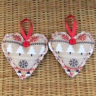 Christmas decoration, hanging heart - beige and red with Christmas trees