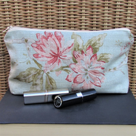 Cosmetic bag, make up bag in pale green with pink floral print