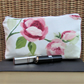 Cosmetic bag, make up bag - ceam and pale green with pink Roses and rosebuds