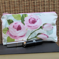 Cosmetic bag, make up bag in ceam and pale blue with pink Roses and rosebuds