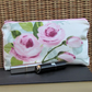 Cosmetic bag, make up bag - ceam and pale blue with pink Roses and rosebuds