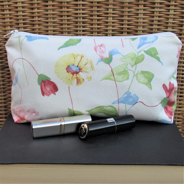 Cosmetic bag, make up bag - Cream with pink and yellow floral print