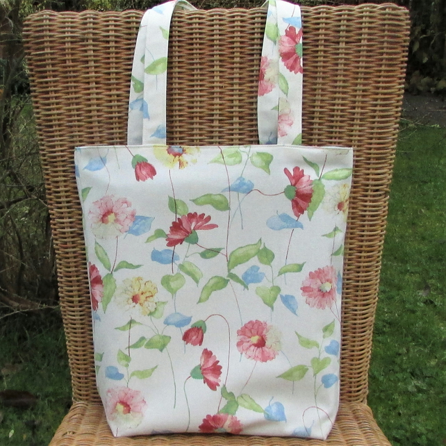 Floral tote bag, handbag in cream with pink and yellow floral print