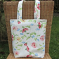 Floral tote bag, handbag - Cream with pink and yellow floral print