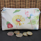 Large purse, coin purse - Cream with pink and yellow floral print
