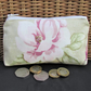 Large purse, coin purse - Pale green with pink Magnolia floral print