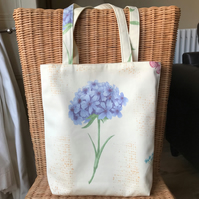 Pale yellow tote bag, handbag with blue flower