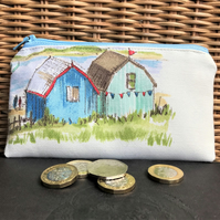 Large purse, coin purse in cream with two beach huts and bunting