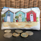 Large purse, coin purse in cream with three beach huts