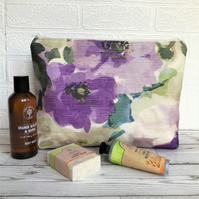 Cream toiletry bag, wash bag with large purple flowers