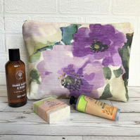 Cream toiletry bag, wash bag with purple floral pattern