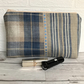 Large beige and blue tartan tweed and stripe pattern cosmetic bag, make up bag
